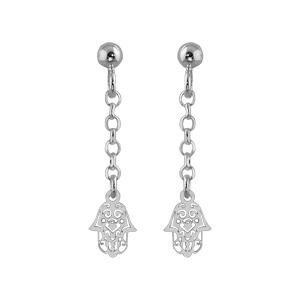 Boucles D'oreilles pendantes en argent chaînette avec main de fatma ajourée à l'extrémité et fermoir tige à poussette