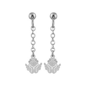 Boucles D'oreilles pendantes en argent chaînette avec ange à l'extrémité et fermoir tige à poussette