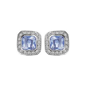 1001 Bijoux - Boucles d'oreille tige argent rhodié pierre forme carré bleu contour pierres blanches pas cher