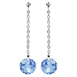 Image of Boucles d'oreille tige argent rhodié rond pierre bleue