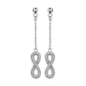 1001 Bijoux - Boucles d'oreilles tige argent rhodié pendante forme huit (infini) et pierres blanches pas cher