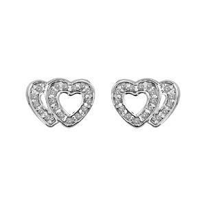 1001 Bijoux - Boucles d'oreille tige argent rhodié double coeur ajouré contour pierres blanches pas cher
