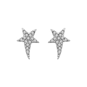 1001 Bijoux - Boucles d'oreille tige argent rhodié étoile avec petites pierres blanches pas cher