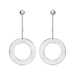 1001 Bijoux - Boucles d'oreille tige argent pendante cercle motif Grec pas cher