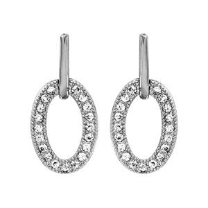 Image of Boucles d'oreille argent rhodié tige cercles forme ovale oxydes blancs sertis