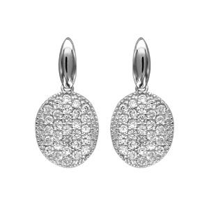 1001 Bijoux - Boucles d'oreille tige argent rhodié forme ovale oxydes blancs sertis pas cher