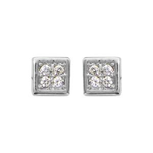 1001 Bijoux - Boucles d'oreille tige argent rhodié carrée 4 oxydes blancs sertis pas cher