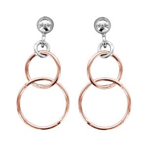 Image of Boucles d'oreille tige argent rhodié motif double cercle dorure rose