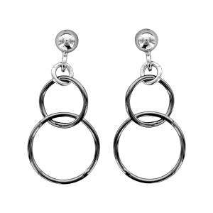 1001 Bijoux - Boucles d'oreille tige argent rhodié motif double cercle noir pas cher