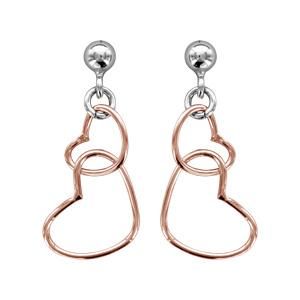 1001 Bijoux - Boucles d'oreille tige argent rhodié motif double coeur dorure rose pas cher