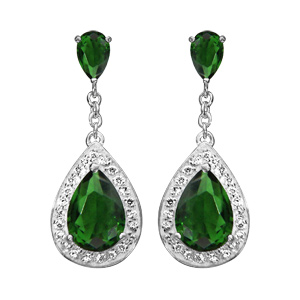 1001 Bijoux - Boucles d'oreille tige argent rhodié pendante pierre verte forme poire contours oxydes sertis blancs pas cher