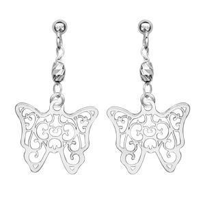 1001 Bijoux - Boucles d'oreille tige argent pendante Papillon filigrane pas cher
