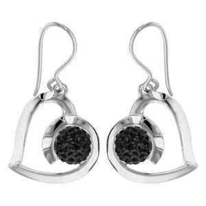 1001 Bijoux - Boucles d'oreille crochet argent rhodié coeur sphère résine strass noirs pas cher