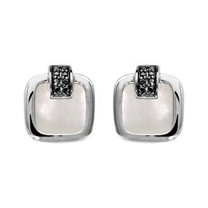 Image of Boucles d'oreille tige argent rhodié carré nacre blanche et oxydes noirs sertis