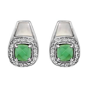 1001 Bijoux - Boucles d'oreille tige argent rhodié pendante pierre carrée verte contour oxydes blancs sertis et nacre blanche pas cher