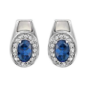 1001 Bijoux - Boucles d'oreille tige argent rhodié pierre ovale bleu contour oxydes blancs sertis et nacre blanche pas cher