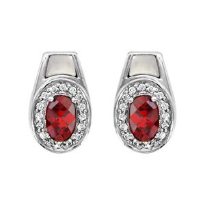 1001 Bijoux - Boucles d'oreille tige argent rhodié pierre ovale rouge contour oxydes blancs sertis et nacre blanche pas cher