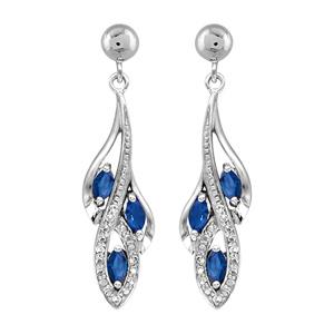 1001 Bijoux - Boucles d'oreille tige argent rhodié pendante 3 navettes pierres bleu et oxydes blancs sertis pas cher