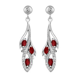 1001 Bijoux - Boucles d'oreille tige argent rhodié pendante 3 navettes pierres rouge et oxydes blancs sertis pas cher