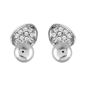 1001 Bijoux - Boucles d'oreille tige argent rhodié 2 éléments oxydes blancs sertis pas cher