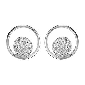 1001 Bijoux - Boucles d'oreille tige argent rhodié ronde avec pastille pave oxydes blancs sertis pas cher