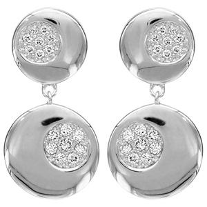 1001 Bijoux - Boucles d'oreille tige argent rhodié 2 disques oxydes blancs sertis pas cher