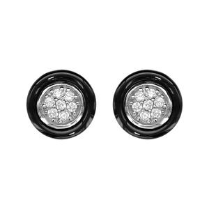 1001 Bijoux - Boucles d'oreille tige argent rhodié cercle céramique noir oxydes blancs sertis pas cher