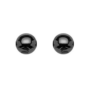 1001 Bijoux - Boucles d'oreille tige argent rhodié avec boule 6mm céramique noire pas cher