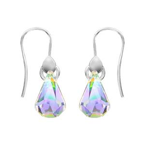1001 Bijoux - Boucles d'oreille crochet argent rhodié avec cristal forme poire pas cher