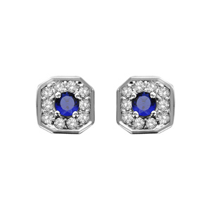 1001 Bijoux - Boucles d'oreille tige argent rhodié pendentif carré oxydes sertis blancs pierre centrale bleu pas cher
