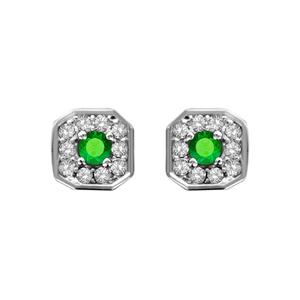 Image of Boucles d'oreille tige argent rhodié pendentif carré oxydes sertis blancs pierre centrale verte