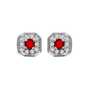 1001 Bijoux - Boucles d'oreille tige argent rhodié pendentif carré oxydes sertis blancs pierre centrale rouge pas cher