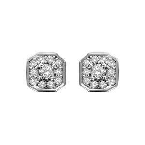 1001 Bijoux - Boucles d'oreille tige argent rhodié pendentif carré oxydes sertis blancs pierre centrale pas cher