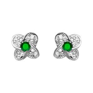 Image of Boucles d'oreille tige argent rhodié fleur oxydes sertis blancs pierre centrale verte