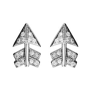1001 Bijoux - Boucles d'oreille tige argent rhodié motif flèche oxydes blancs sertis pas cher