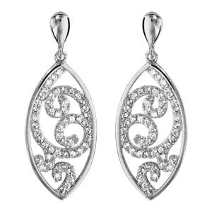 1001 Bijoux - Boucles d'oreille tige argent rhodié forme amande arabesque oxydes blancs sertis pas cher
