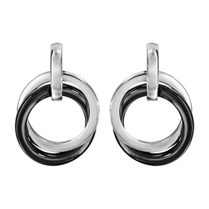Image of Boucles d'oreille tige argent rhodié céramique noire 2 anneaux croisés