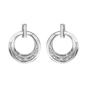 1001 Bijoux - Boucles d'oreille tige argent rhodié rondelle oxydes blancs sertis pas cher