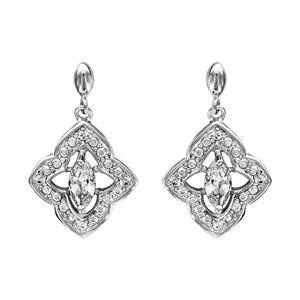 1001 Bijoux - Boucles d'oreille tige argent rhodié motif fleur oxydes blancs sertis et navette pierre blanche pas cher