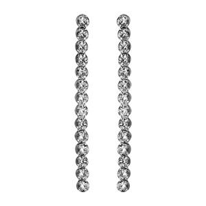 Image of Boucles d'oreille tige argent rhodié pendantes oxydes blancs sertis longues
