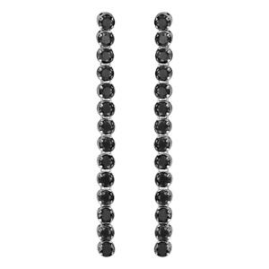1001 Bijoux - Boucles d'oreille tige argent rhodié pendantes pierres noires serties longues pas cher