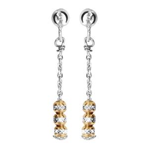 1001 Bijoux - Boucles d'oreille tige argent rhodié pendante 3 boules diamantées avec dorure jaune pas cher