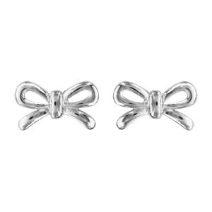 1001 Bijoux - Boucles d'oreille tige argent rhodié noeud lisse pas cher