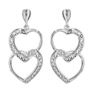 1001 Bijoux - Boucles d'oreille tige argent rhodié double coeurs superposés oxydes blancs sertis pas cher