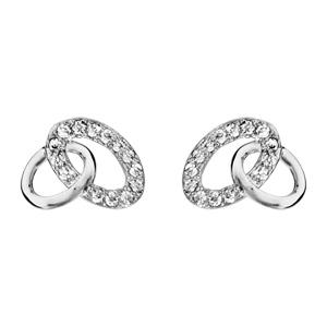 1001 Bijoux - Boucles d'oreille tige argent rhodié 2 ovales entremêlés oxydes blancs sertis pas cher