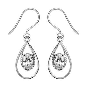 1001 Bijoux - Boucles d'oreille argent rhodié crochet forme goutte oxyde blanc serti pas cher