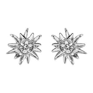 1001 Bijoux - Boucles d'oreille tige argent rhodié edelweiss oxydes blancs sertis pas cher