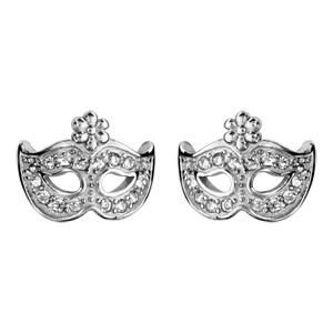 Image of Boucles d'oreille tige argent rhodié pendentif masque oxydes blancs sertis