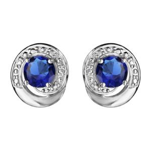 1001 Bijoux - Boucles d'oreille tige argent rhodié forme spirale pierre bleu et oxydes blancs sertis pas cher