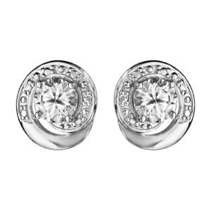 1001 Bijoux - Boucles d'oreille tige argent rhodié forme spirale pierre blanche et oxydes blancs sertis pas cher